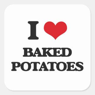 Amo las patatas cocidas pegatina cuadrada