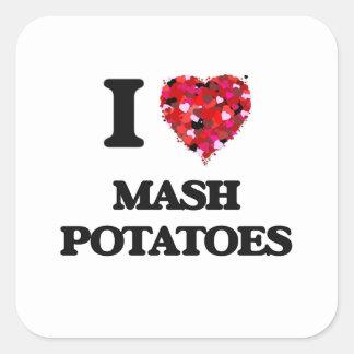 Amo las patatas de puré pegatina cuadrada