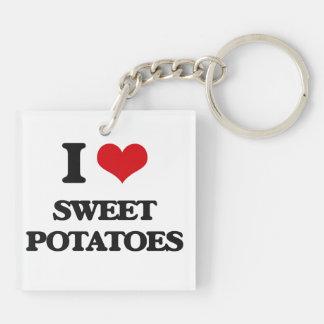 Amo las patatas dulces llavero cuadrado acrílico a doble cara