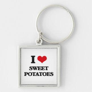 Amo las patatas dulces llavero cuadrado plateado