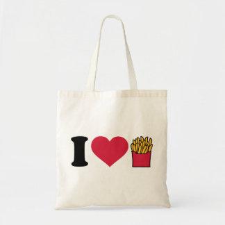 Amo las patatas fritas bolsas de mano