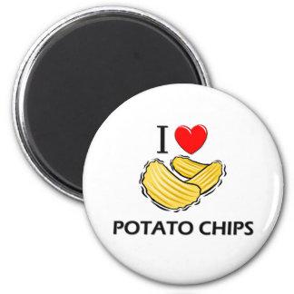 Amo las patatas fritas imán redondo 5 cm