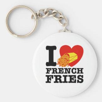 Amo las patatas fritas llavero redondo tipo pin