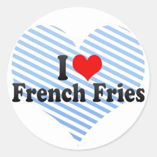 Amo las patatas fritas etiquetas redondas