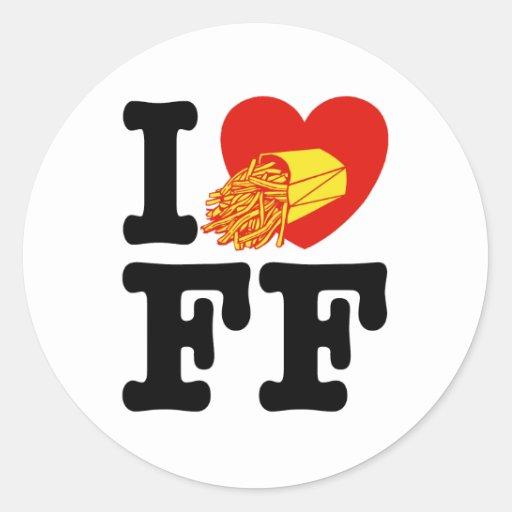 Amo las patatas fritas pegatinas redondas