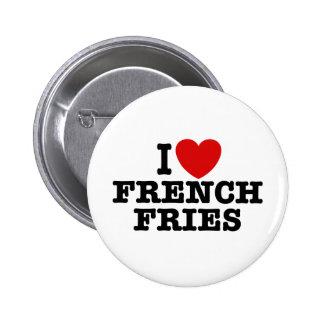 Amo las patatas fritas pin redondo de 2 pulgadas