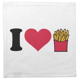 Amo las patatas fritas servilleta
