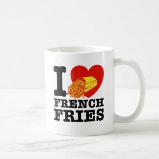 Amo las patatas fritas tazas de café