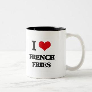 Amo las patatas fritas taza dos tonos