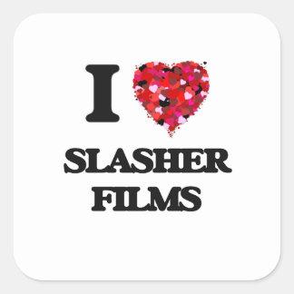 Amo las películas de Slasher Pegatina Cuadrada