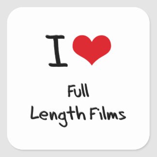 Amo las películas integrales pegatinas cuadradas