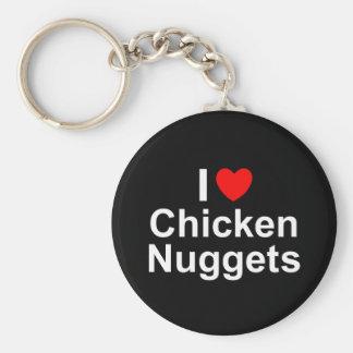 Amo las pepitas de pollo (del corazón) llavero redondo tipo pin