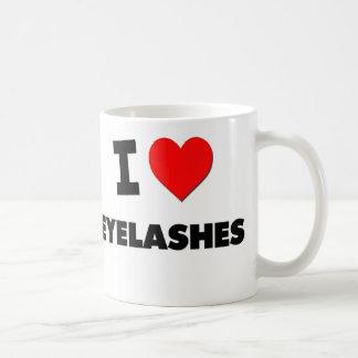 Amo las pestañas taza de café