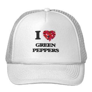 Amo las pimientas verdes gorros bordados