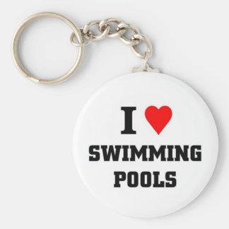Amo las piscinas llavero redondo tipo pin