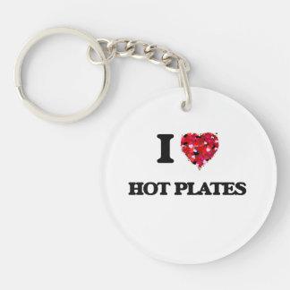 Amo las placas calientes llavero redondo acrílico a una cara