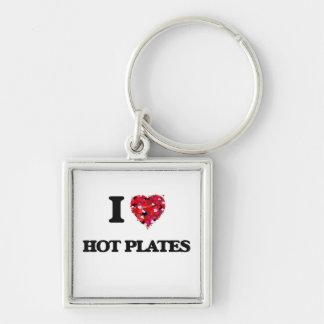 Amo las placas calientes llavero cuadrado plateado