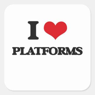 Amo las plataformas pegatinas cuadradas