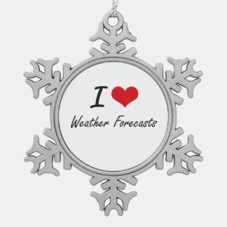 Amo las previsiones metereológicas adorno de peltre en forma de copo de nieve