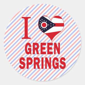 Amo las primaveras verdes, Ohio Pegatina Redonda