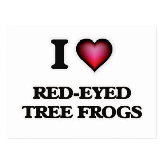 Amo las ranas arbóreas Rojo-Observadas Postal