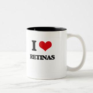 Amo las retinas taza de café de dos colores