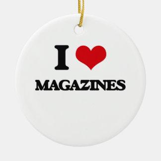 Amo las revistas adorno redondo de cerámica