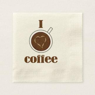 Amo las servilletas de papel del corazón de Latte