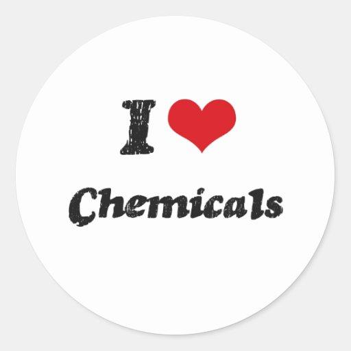 Amo las sustancias químicas pegatina redonda