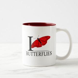 Amo las tazas de las mariposas