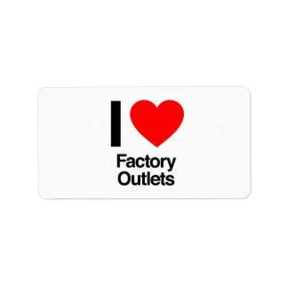 amo las tiendas de fábrica etiquetas de dirección
