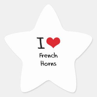 Amo las trompas calcomanías forma de estrella personalizadas