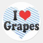Amo las uvas etiqueta redonda