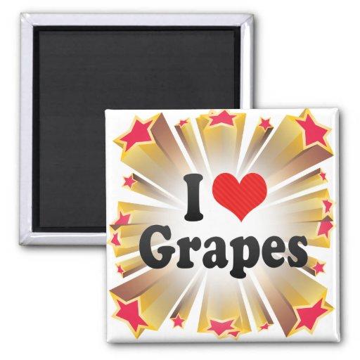 Amo las uvas imán de frigorífico