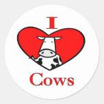 Amo las vacas rojas etiqueta redonda