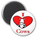 Amo las vacas rojas imán