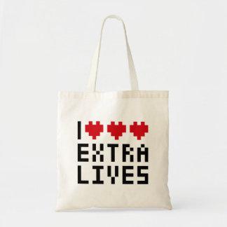 Amo las vidas adicionales del corazón tema retro bolsas