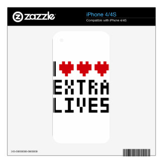 Amo las vidas adicionales del corazón, tema retro calcomanías para el iPhone 4S