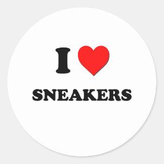 Amo las zapatillas de deporte pegatina redonda
