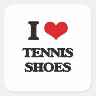Amo las zapatos tenis pegatina cuadrada