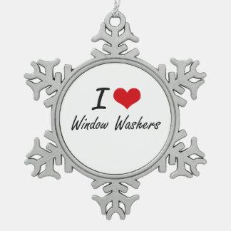Amo lavadoras de ventana adorno de peltre en forma de copo de nieve