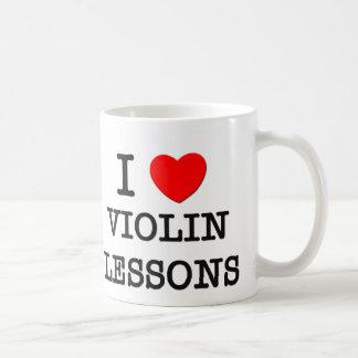 Amo lecciones de violín taza básica blanca