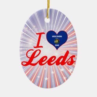 Amo Leeds, Wisconsin Adorno Navideño Ovalado De Cerámica