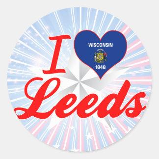 Amo Leeds, Wisconsin Pegatina Redonda