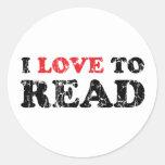 Amo leer apenado pegatina redonda