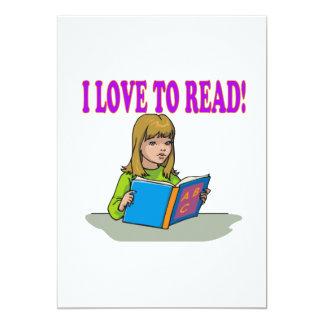 """Amo leer invitación 5"""" x 7"""""""