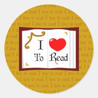 Amo leer pegatina redonda