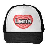 Amo Lena. Te amo Lena. Corazón Gorras