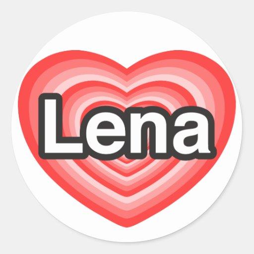 Amo Lena. Te amo Lena. Corazón Pegatinas Redondas