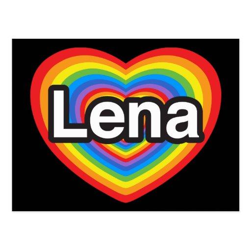 Amo Lena. Te amo Lena. Corazón Tarjeta Postal